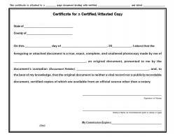 Certificate for an Attested/Certified Photocopy Pad, Texas