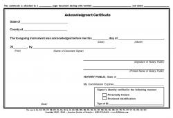 Acknowledgment Certificate Pad, New Jersey