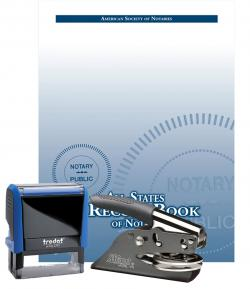 Kansas Self-Inking Notary Stamp, Hand-Held Embossing Seal and All-States Recordbook Package