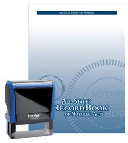 Iowa Self-Inking Rectangular Notary Stamp and All-States Recordbook Package