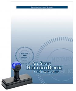 Indiana Rubber Rectangular Notary Stamp and All-States Recordbook Package